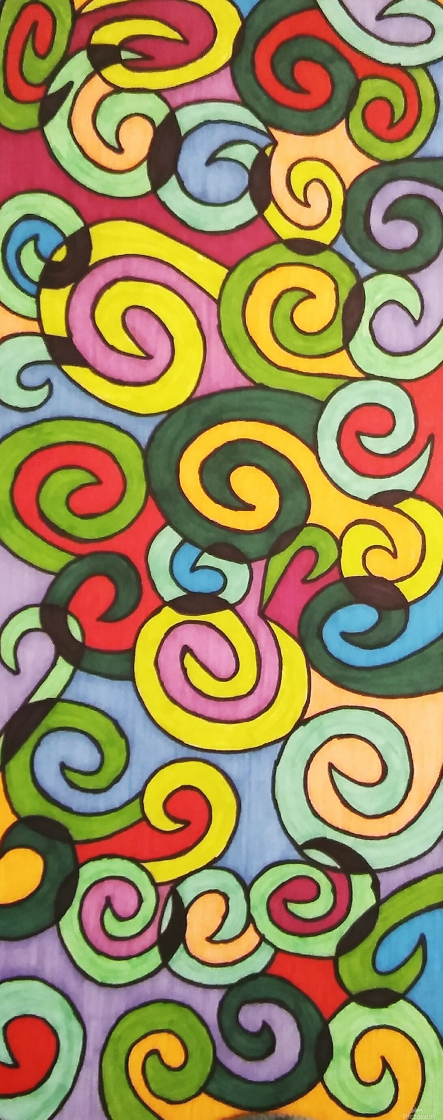 Bright Colorful Curves  Print
